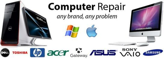 Picture of computer repair brands and two computers. The picture text says computer repair, any brand any problem.